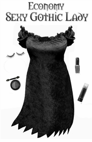 NEW! Economy Style Sexy Gothic Lady Black Plus Size & Supersize Halloween Costume and Accessory Kit! Lg to 9x