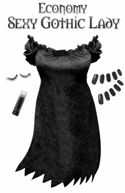 SALE! Economy Plus Size Sexy Dark Gothic Lady Costume & Accessories! Plus Size & SuperSize Halloween Costume + Kit XL 1x 2x 3x 4x 5x 6x 7x 8x 9x