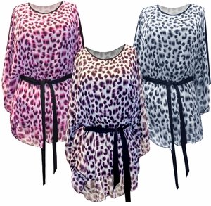 FINAL SALE! Just Reduced! Fuschia, Black & Gray, or Purple Leopard Animal Spots Print Slinky Flutter Tops Plus Size 4x 5x 6x