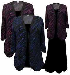 HOT! Fuschia or Blue Streaks Plus Size & Supersize Sweater Duster L XL 0x 1x 2x 3x 4x 5x 6x 7x 8x