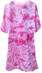 SALE! Fuschia Hot Pink Tie Dye Plus Size T-Shirts Xl 2x 3x 4x 5x 6x