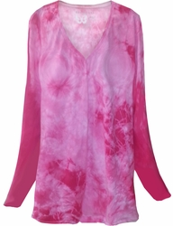 SALE! Fuschia Hot Pink Tie Dye V Neck Long Sleeve Plus Size T-Shirt 3x 4x 5x