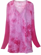 SALE! Fuchsia Hot Pink Tie Dye Round Neck Long Sleeve Plus Size T-Shirt 5xl