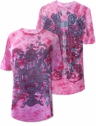 CLEARANCE! Fuschia Tie Dye Hot Pink & White With Swords or Roses Plus Size T-Shirt 2XL
