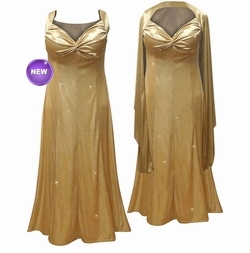 NEW! Glamorous Gold Glittery Satin 2 Piece Plus Size SuperSize Princess Seam Dress Set 0x 1x 2x 3x 4x 5x 6x 7x 8x 9x