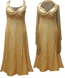 Glamorous Gold Glittery Satin 2 Piece Plus Size SuperSize Princess Seam Dress Set 0x 1x 2x 3x 4x 5x 6x 7x 8x 9x