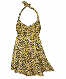 NEW! Mustard Yellow Cheetah Spots Print Plus Size Halter SwimDress Swimwear or Shoulder Strap 2pc Swimsuit 0x1x 2x 3x 4x 5x 6x 7x 8x 9x
