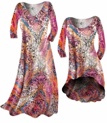 SALE! Gold Shiny Metallic Over Pink Multicolor Print Slinky Plus Size & Supersize A-Line Dresses & Shirts 5x