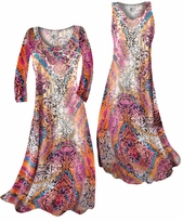 Customize Gold Shiny Metallic Over Pink Multicolor Print Slinky Plus Size & Supersize Standard or Cascading A-Line or Princess Cut Dresses & Shirts, Jackets, Pants, Palazzo's or Skirts Lg to 9x