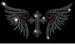NEW! Gothic Cross With Pink & Silver Wings Sparkly Rhinestuds Plus Size & Supersize T-Shirts S M L XL 2x 3x 4x 5x 6x 7x 8x 9x (All Colors)