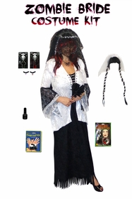 NEW! Ghost Plus Size Zombie Bride 2 Piece Jacket and Dress Set With Long Veil Supersize & Plus Size  + Accessory Kit! Lg XL 0x 1x 2x 3x 4x 5x 6x 7x 8x 9x