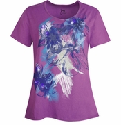 NEW! Grape Purple Glittery Floral Plus Size T-Shirt 4x 5x