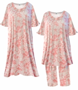 SALE! Gray With Coral Flower Outline Print Moo Moo Dress Plus Size & Supersize 1x