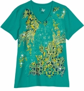 FINAL SALE! Just Reduced! Green & Blue Golden Seahorses Glittery Plus Size T-Shirt 4x