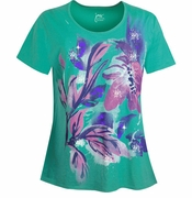 SALE! Green Glittery Floral Plus Size T-Shirt 4x 5x