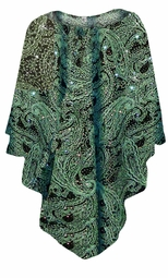 NEW! Green Paisley Glitter Slinky Print Plus Size Supersize Poncho