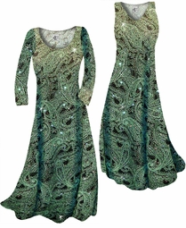 SOLD OUT! Customize Green Paisley Glitter Slinky Print Plus Size & Supersize Standard or Cascading A-Line or Princess Cut Dresses & Shirts, Jackets, Pants, Palazzo's or Skirts Lg to 9x