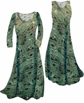 Customize Green Paisley Glitter Slinky Print Plus Size & Supersize Standard or Cascading A-Line or Princess Cut Dresses & Shirts, Jackets, Pants, Palazzo's or Skirts Lg to 9x
