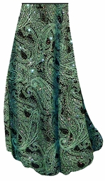 Green Paisley Glitter Slinky Print Special Order Customizable Plus Size & Supersize Pants, Capri's, Palazzos or Skirts! Lg to 9x