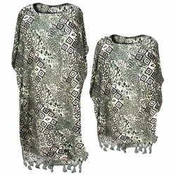 SALE! Grey Cubes Rayon Print Plus Size & Supersize Caftan Dress or Shirt 1x to 6x