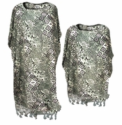 SOLD OUT! Grey Cubes Rayon Print Plus Size & Supersize Caftan Dress or Shirt 1x to 6x