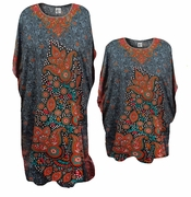 SALE! Grey Paisley Pattern Print With Glittery Neckline Poly/Satin Plus Size & Supersize Caftan Dress or Shirt 1x to 6x