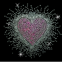 NEW! Hearburst Pink Silver Rhinestone / Studs Plus Size & Supersize T-Shirts S M L XL 2x 3x 4x 5x 6x 7x 8x 9x (All Colors)