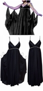 SALE! HOT! Amazing Black Satin with Clear Crystal Empire Waist Plus Size Goddess Dress XL