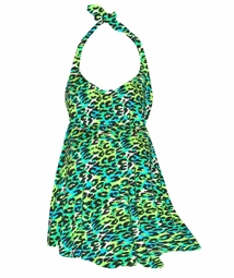 NEW! Hot Bright Teal & Lime Green Leopard Spots Print Plus Size Halter SwimDress Swimwear or Shoulder Strap 2pc Swimsuit 0x1x 2x 3x 4x 5x 6x 7x 8x 9x
