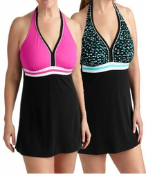 NEW! Hot Pink & Black or White, Teal & Black Plus Size Sporty One Piece Swimdress 3x/22-24W