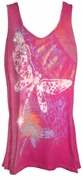 SALE! Hot Pink Giant Dragonfly Glittery Plus Size Tank Top 3x 4x