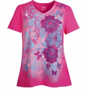 NEW! Hot Pink Blossoms With Butterflies Glittery Floral Plus Size T-Shirt 4x 5x