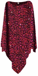 NEW! Red With Hot Pink Glittery Leopard Slinky Plus Size Supersize Poncho