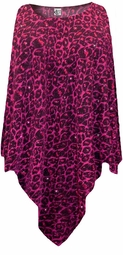 NEW! Hot Pink Leopard Glittery Slinky Plus Size Supersize Poncho