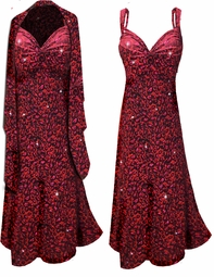 NEW! Red With Hot Pink Glittery Leopard Slinky Print 2 Piece Plus Size SuperSize Princess Seam Dress Set 0x 1x 2x 3x 4x 5x 6x 7x 8x 9x