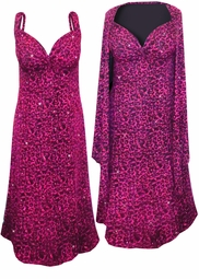 NEW! Hot Pink Leopard Glittery Slinky Print 2 Piece Plus Size SuperSize Princess Seam Dress Set 0x 1x 2x 3x 4x 5x 6x 7x 8x 9x