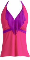 Hot Pink With Purple Fringe Halterkini Tank Top Plus Size Swim Top And Add Optional Black High Waist Panty or Shorts 3x/22-24W