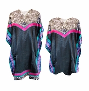 Hot Pink Zebra Print Plus Size & Supersize Caftan Mid Length Dress or Shirt 1x to 6x