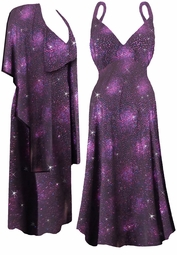 Hot Purple & Bright Pink Sheer Glitter Bursts w/Black Liner 2 Piece Plus Size SuperSize Princess Seam Dress Set  0x 1x 2x 3x 4x 5x 6x 7x 8x