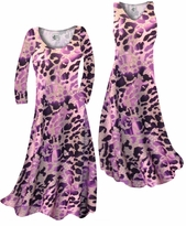 NEW! Customize Hot Purple & Mauve Leopard Slinky Print Plus Size & Supersize Standard or Cascading A-Line or Princess Cut Dresses & Shirts, Jackets, Pants, Palazzo's or Skirts Lg to 9x