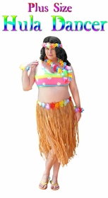 NEW! Hula Dancer Skirt Deluxe Costume Set Plus Size & Supersize Halloween Costume and Accessory Kit! Sizes Lg to 9x
