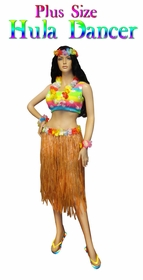 NEW! Hula Dancer Skirt Costume Economy or Deluxe Set Plus Size & Supersize Halloween Costume and Accessory Kit! Sizes Lg to 9x