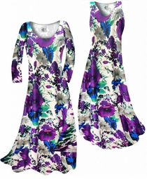 NEW! Indigo Blue & Purple Bellflowers Floral Slinky Print Plus Size & Supersize Standard or Cascading A-Line or Princess Cut Dresses & Shirts, Jackets, Pants, Palazzo's or Skirts Lg to 9x