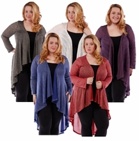 SALE! Ivory Purple or Black Red & Blue Sparkle Glimmer! Knitted Sweater Coverup Cardigan Plus Size Jackets 4x 5x 5x