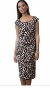 SALE!  Leopard Brown Print Plus Size Mid Length Dress 38W