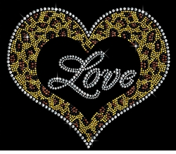 NEW! Leopard Love Heart Sparkly Rhinestuds Plus Size & Supersize T-Shirts S M L XL 2x 3x 4x 5x 6x 7x 8x 9x (All Colors)
