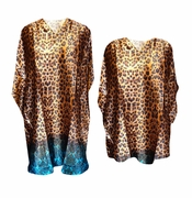 SALE! Leopard Brown Blue Ombre Print Plus Size & Supersize Caftan Mid Length Dress or Shirt 1x to 6x