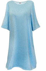NEW! Light Blue With Silver Glimmer Lightweight Supersize Extra Long Short Sleeve Sweater Shirt 3x 4x 5x 6x 8x