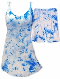 NEW! Blue Tie Dye Babydoll Style Swimdress With Matching Shorts 2 Piece Plus Size Supersize Swimsuit 5x