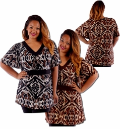 SALE! Lightweight Brown or Black Abstract Pattern Plus Size Slinky Tops 4x